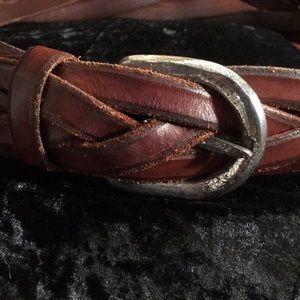 Brown leather banana republic braided belt
